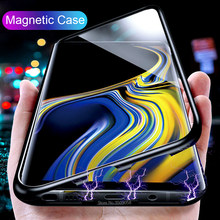 Magnet Metal Flip Case for Samsung Galaxy note 9 8 Magnetic Adsorption Case for Samsung SS8 S9 plus S9plus S8plus Tempered Glass(China)