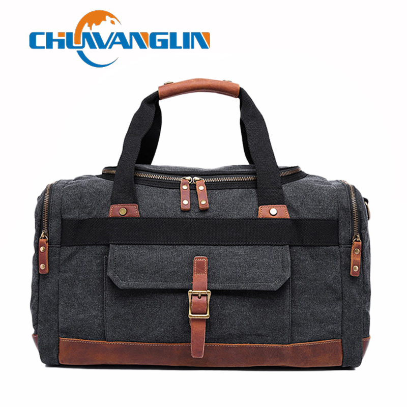 Chuwanglin Canvas Leather Men Travel Bags Carry on Luggage Bags Men Duffel Bags Travel Tote Large