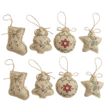 8Pcs Rustic Primitive Christmas Burlap Tree Ornaments Decorations for Party Holiday (Stocking+Star+Tree+Ball)(China)