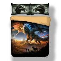 Duvet Cover 3D Dinosaurs Fire breathing Dragons Bedding Sets King Queen full Twin Size 3PCS black PillowCase housse de couette