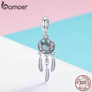 Bamoer подлинное 925 пробы Серебряное богемное кулон в виде Ловца снов, браслет, ожерелье, серебро, сделай сам, ювелирное изделие SCC961