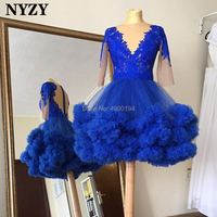 NYZY C110 Royal Blue Coctail Dress Half Sleeves Ball Gown Short Prom Dress vestido de madrinha coctel formatura 2019