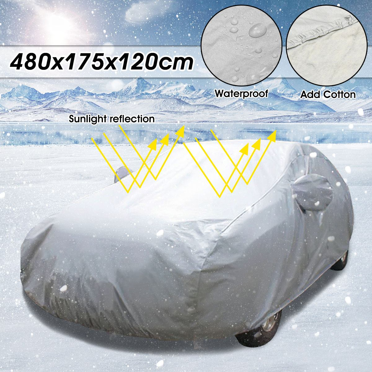 480*175*120cm Large Size Outdoor Car Auto Full Cover Snow Ice Rain Dust Sun Waterproof UV Anti scratch Protector Double Layer