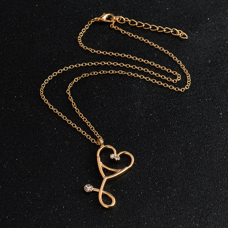 Alloy Heart Pendant Medical Nurse Stethoscope Chain Women Gift Necklace Jewery