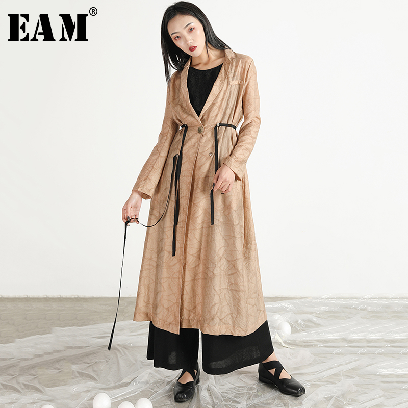 [EAM] 2019 New Spring Summer Lapel Long Sleeve Black Thin Ribbon Split Joint Loose Long Windbreaker Women   Trench   Fashion JR331
