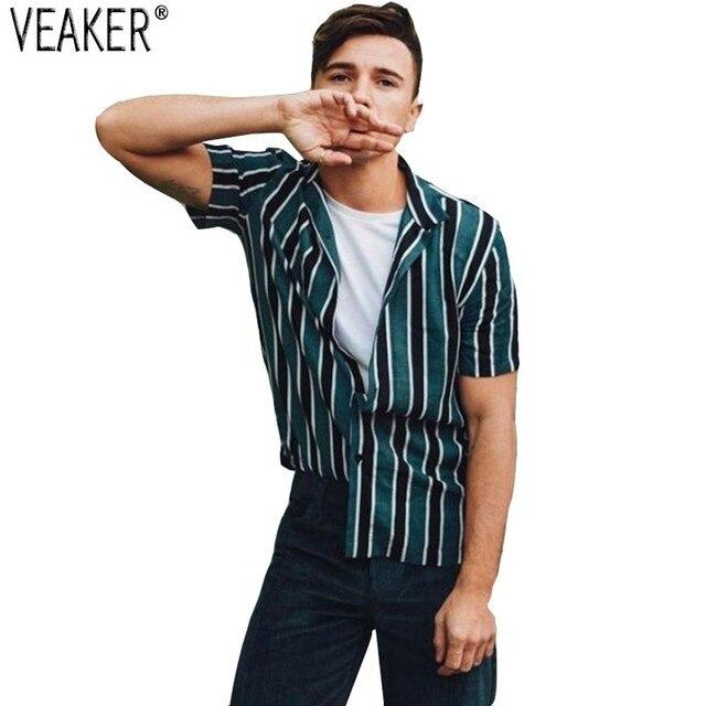 2019 חדש גברים של רחוב גבוה מקרית חולצות זכר פסים Streetwear חולצה חולצות גברים קיץ קצר שרוולים חולצות M-3XL