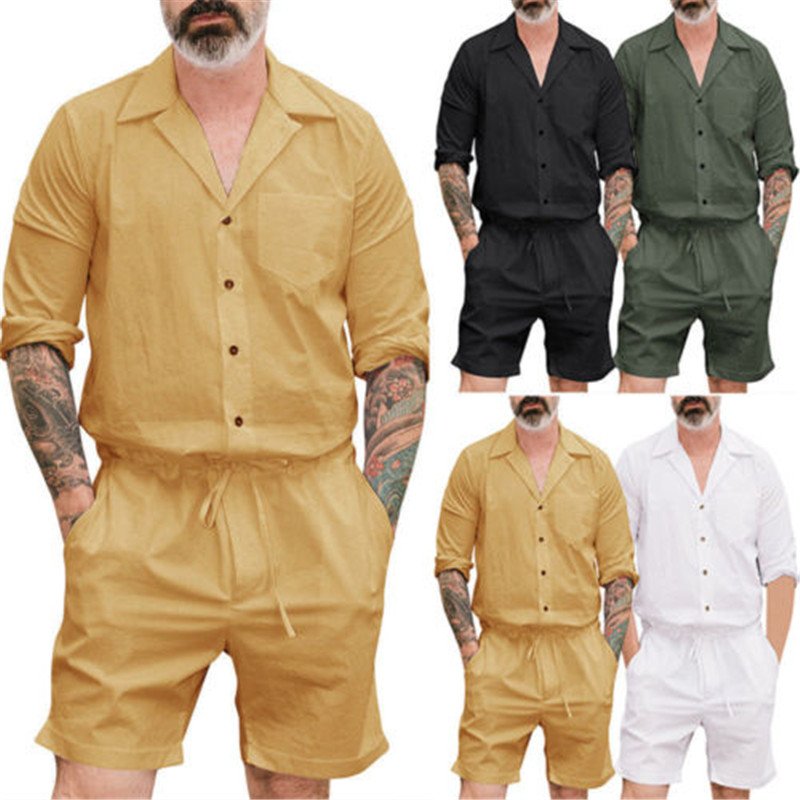 Shirts Jumpsuits Trouser-Pants Rompers Short Male Yellow Casual Stylish Green White Black