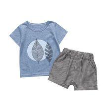 bc8ca1dca6d82 الصيف الأطفال الفتيان الفتيات ملابس قطنية يترك الصورة قميص شريط السراويل 2  قطعة المجموعة طفل