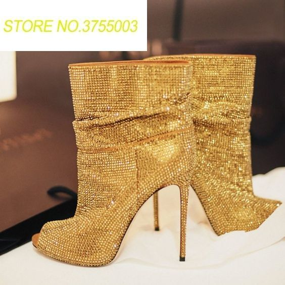 2018 Spring New Fashion Gold Rhinestone Women Peep Toe Ankle Boots Black Crystal Ladies High Heel Boots Slip On Stiletto Boots2018 Spring New Fashion Gold Rhinestone Women Peep Toe Ankle Boots Black Crystal Ladies High Heel Boots Slip On Stiletto Boots