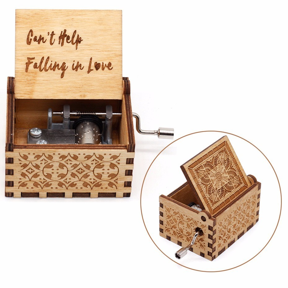 2019 New Hand Crank Falling in love Digimon Beauty And The Beast Game Of Thrones Star Wars Wooden Music Box Christmas Gift image