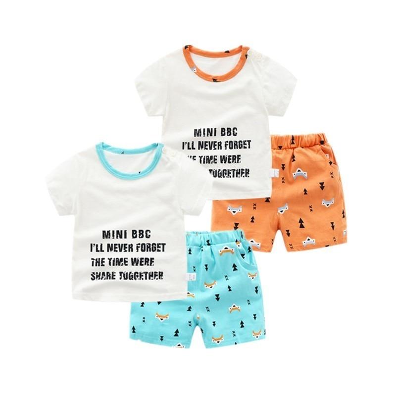 2 Pcs Baby Boy Casual Sommer Kleidung Anzug Kleinkind Kinder Baumwolle Fuchs Gedruckt Kurzen ärmeln T-shirt + Shorts Outfits GroßEs Sortiment