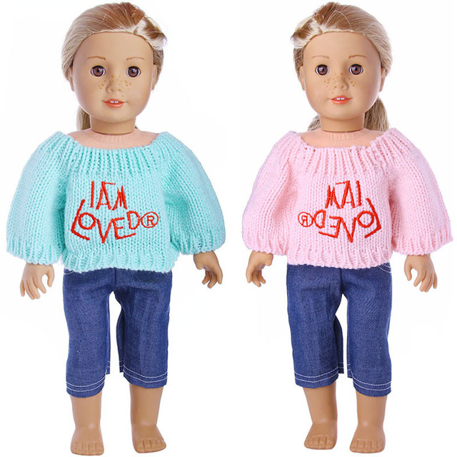 18 Girl Doll Clothes And Accessories Sweater And Pants Suit Girl