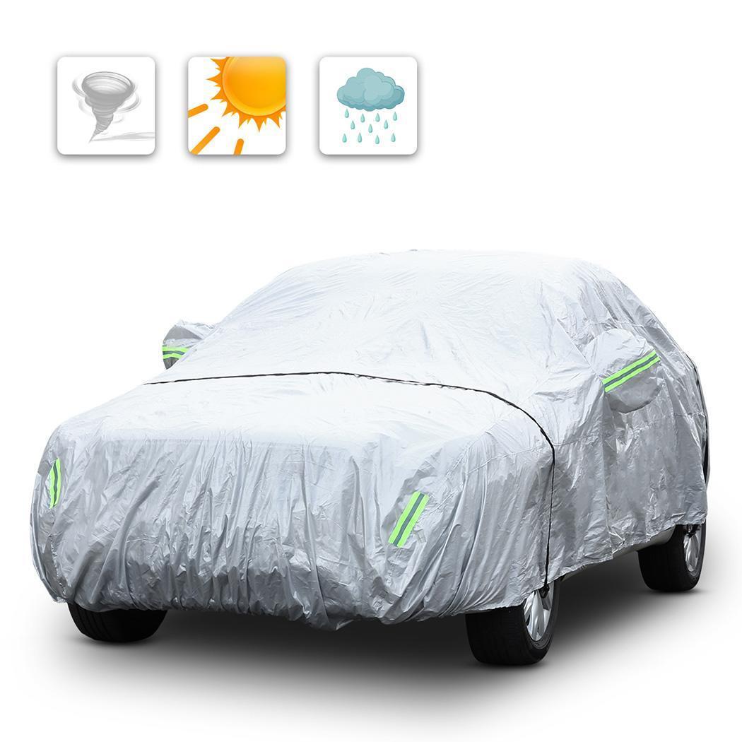 4.8 m 5.3 m 170 T bâche de voiture pliée imperméable Anti UV plié couverture de protection de voiture complète couverture automatique élastique avec bande réfléchissante