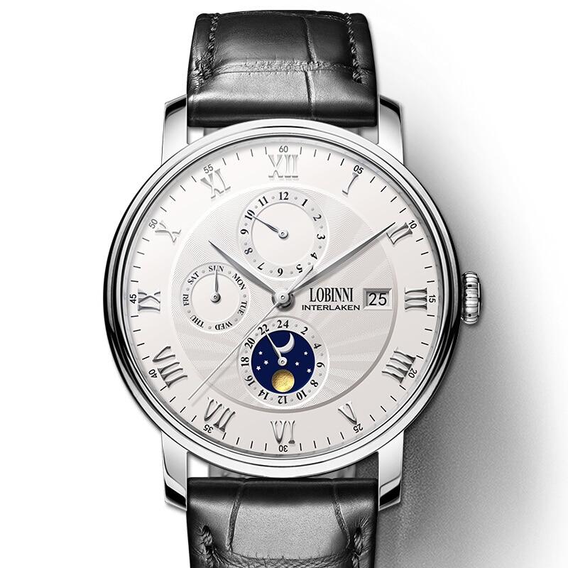 Suisse LOBINNI hommes montres de luxe marque montre-bracelet mouette montre hommes Auto mécanique saphir relogio masculino L1023-2