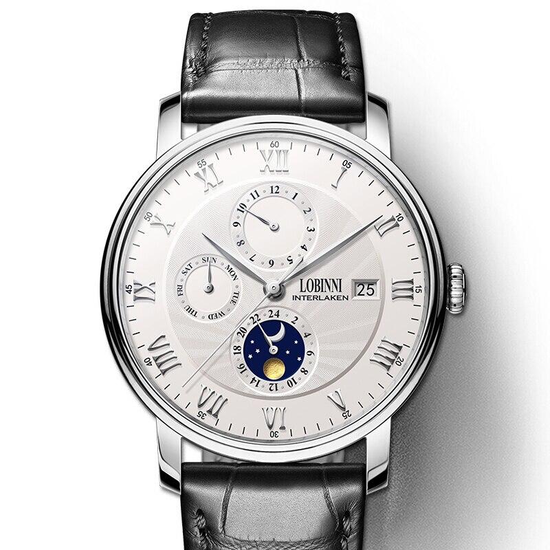 Zwitserland LOBINNI Mannen Horloges Luxe Merk horloge Seagull Horloge Mannen Auto Mechanische Sapphire relogio masculino L1023 2-in Mechanische Horloges van Horloges op  Groep 1