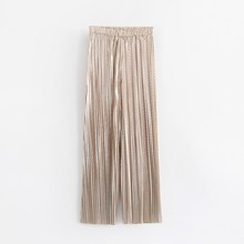 2019 Hot Sale Fashion Women Casual Gold/Sliver Wide Leg Pants Summer Solid Loose Long Trousers