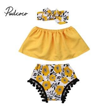 ae1256303e17 Pudcoco 2019 niño niños bebé niña Tops + Shorts florales + diadema  Arco-nudo sin mangas 3 piezas bebé ropa de Niña 0-18 meses