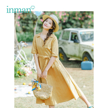 INMAN 2019 Summer New Arrival V-neck Literary Pastoral Style Defined Waist Slim Short Sleeves A-line Women Dress