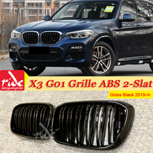 1 Pair X3 G01 Front Grille ABS Gloss Black M-Style For X3-Series 2-Slat Mesh Grills Kidney Bumper 2019-in