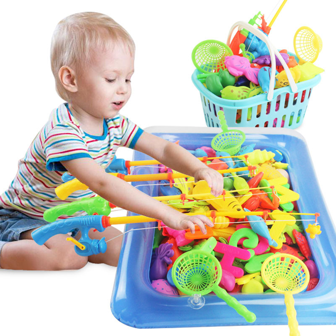 Hot 80Pcs Magnetic Fishing Pool Beach Toy Set Baby Educational Toys With Basket Beach Toy Play Sand Toys Gift For Kids Children
