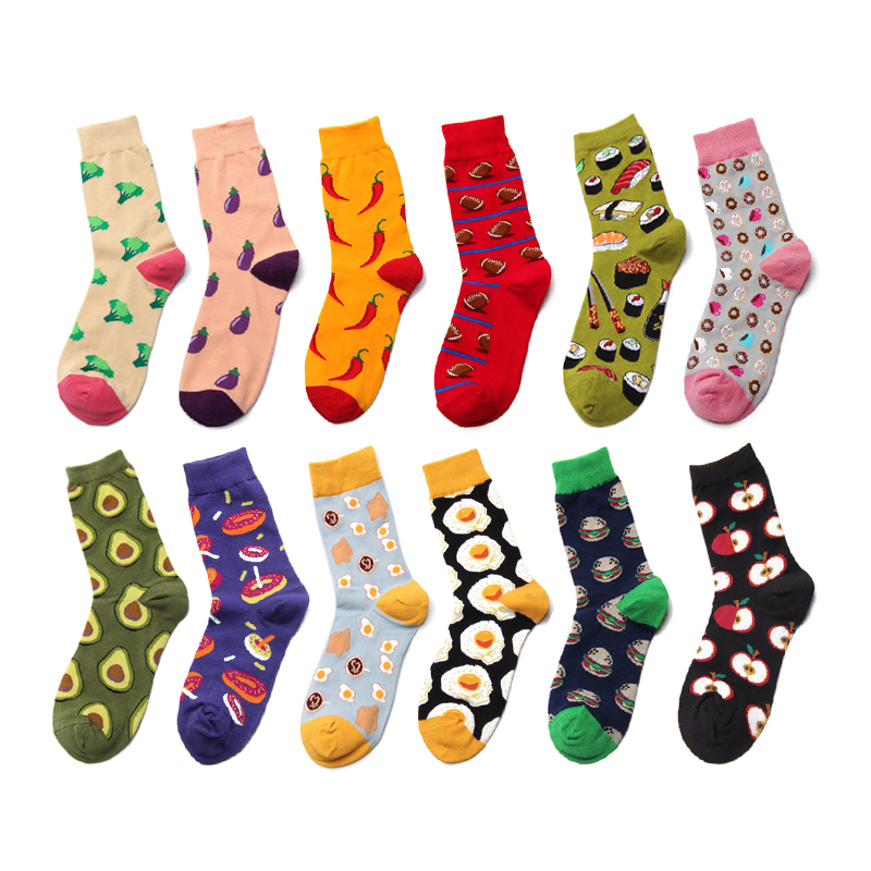 Cartoon Food Chili Eggplant Broccoli Apple Donut Egg Colorful Happy Cotton Funny WOMen Socks Korea Harajuku Hip Hop Street