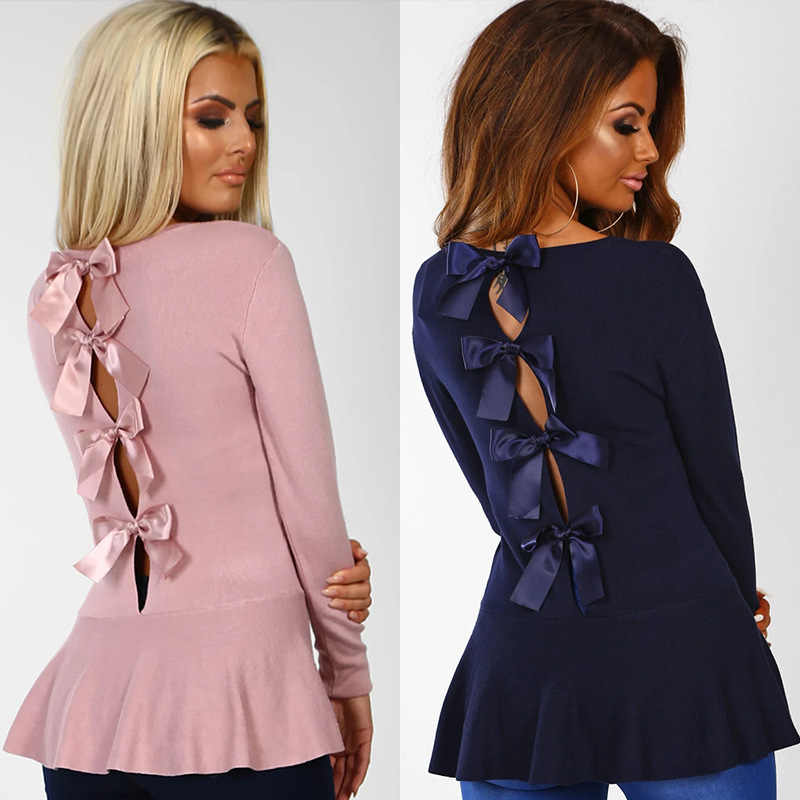2019 New  Hollow Out Bowknot Sweet Peplum Blouse Round Neck Long Sleeve Ladies Shirts Blusas Feminina Ez*100262