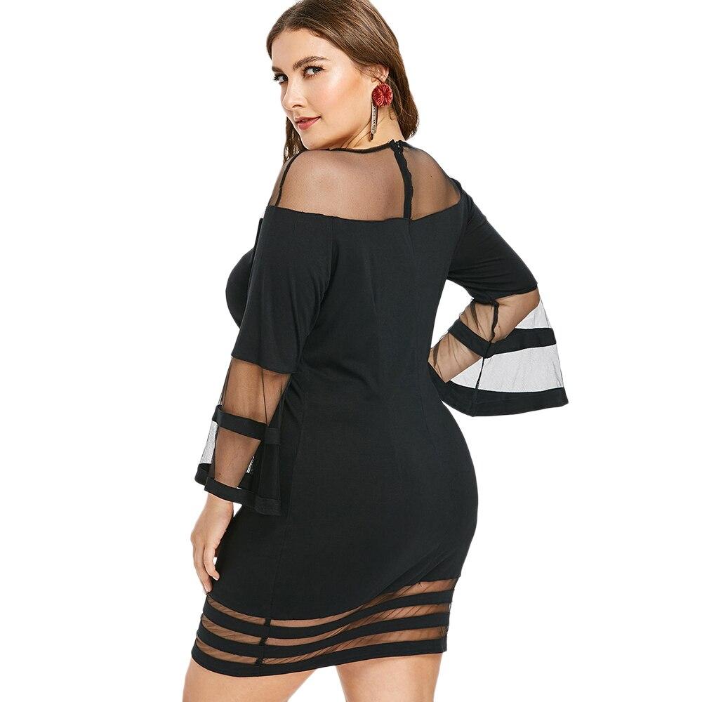 bba097fab5 US $13.46 35% OFF|AZULINA Plus Size Flare Sleeve Mesh Yoke Bodycon Dress  Women Casual O Neck Long Sleeve Mini Dresses Vestido Autumn Spring Dress-in  ...