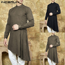 INCERUN Mens Kurta Suit Long Sleeve Shirts Dress Muslim Asymmetric Hem Kaftan Islamic Clothing Chemise Indien