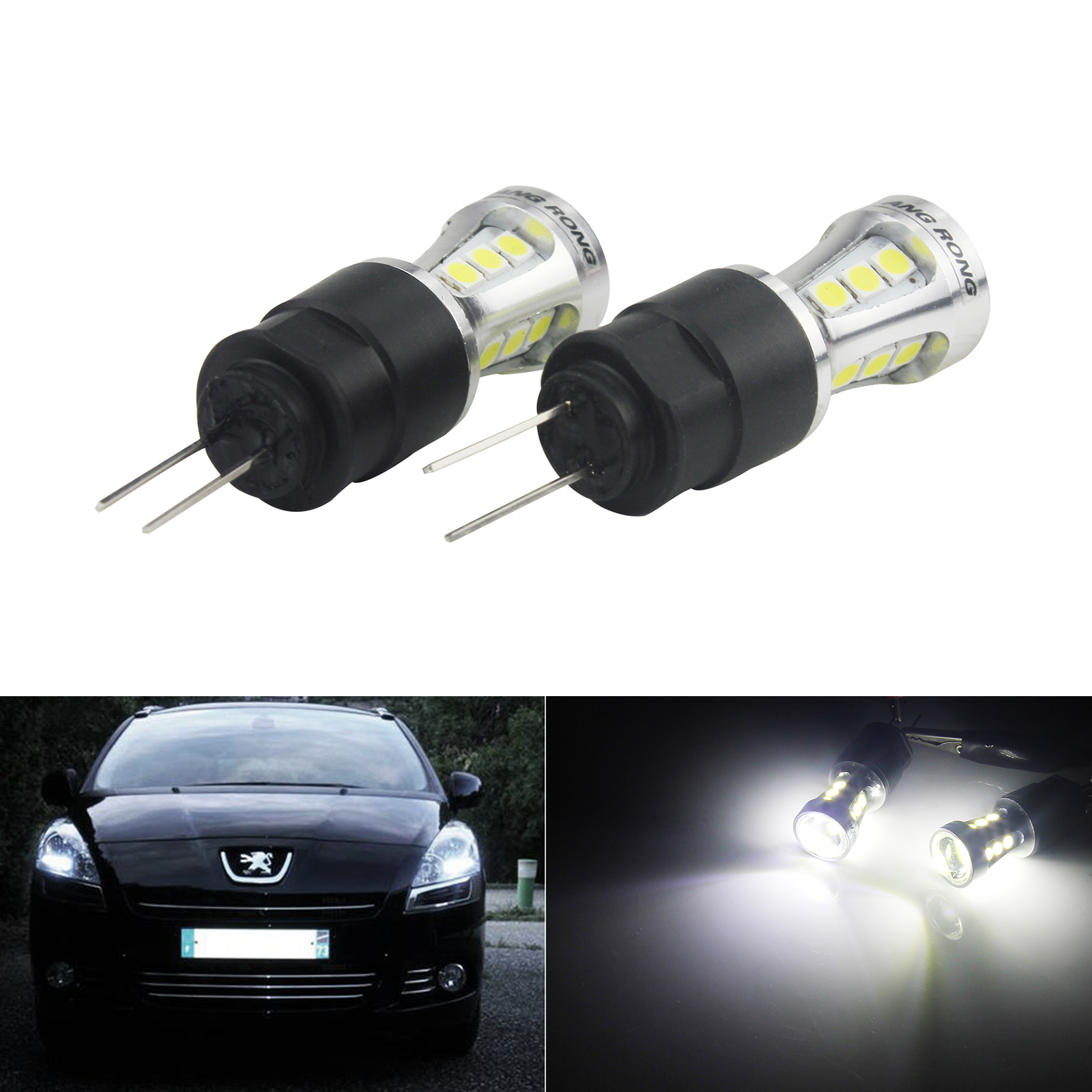ANGRONG 2x HP24W HPY24W G4 18 SMD <font><b>LED</b></font> Sidelight Daytime Running <font><b>Light</b></font> Bulbs For <font><b>Peugeot</b></font> <font><b>3008</b></font> 5008 Citron C5 White 6000K image