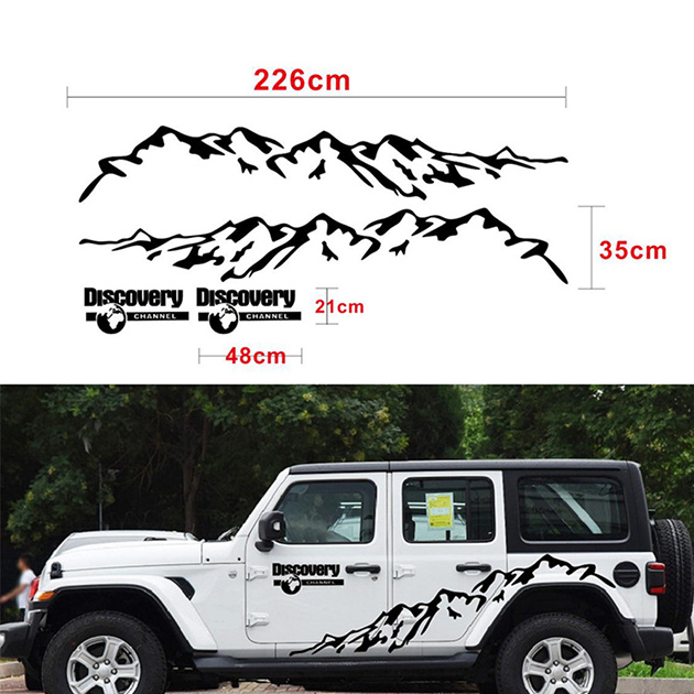 New Black Mountain Styling Car Door Side Decor Sticker Auto Body Stickers Vinyl Decal Auto Stikers