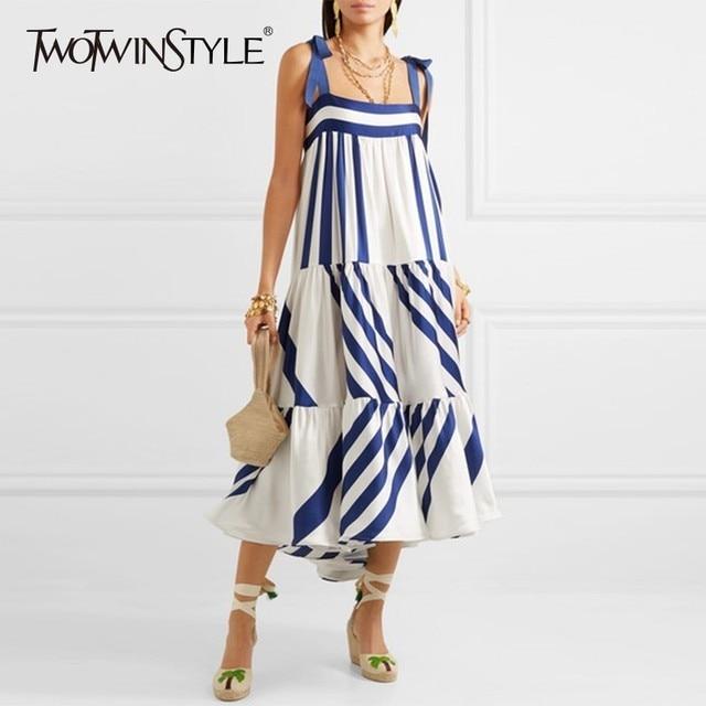 Twotwinstyle listrado cinta de espaguete longo vestidos femininos casuais fora do ombro para trás menos laço até roupas femininas 2020 moda