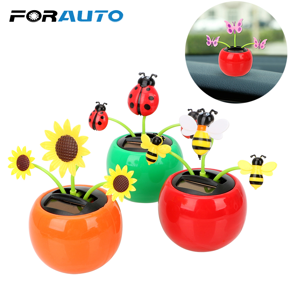 FORAUTO Solar Powered Dancing Toy Car Ornament Dashboard Decoration Swing Plant with Adhesive Tape Auto Accessories Car Styling