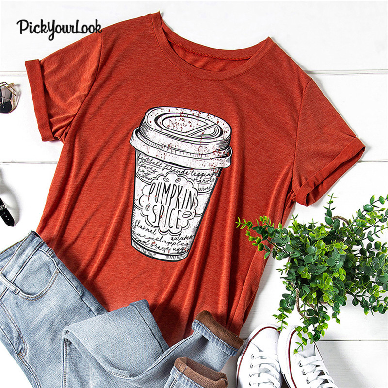 Pickyourlook Women Tshirt Summer Plus Size Tea Cup Female T-Shirt Tops Short Sleeve Fashion Tee Shirt For Lady Femme Camicette
