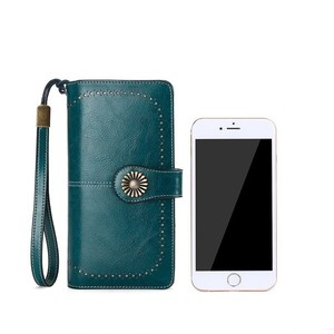 Image 4 - Fashion Women Clutch New Wallet Cow Leather Female Long Wallet Women Zipper Purse Strap Coin Purse For Iphone 7