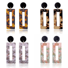 Hot 2018 Acrylic Resin Square Leopard Drop Earring For women Pendant Fashion Jewelry Gift pendientes mujeres