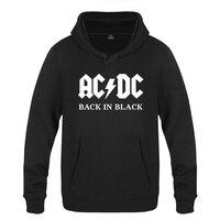 Back In Black ACDC Rock Music Sweatshirts Men 2018 Mens Hooded Fleece Pullover Hoodies