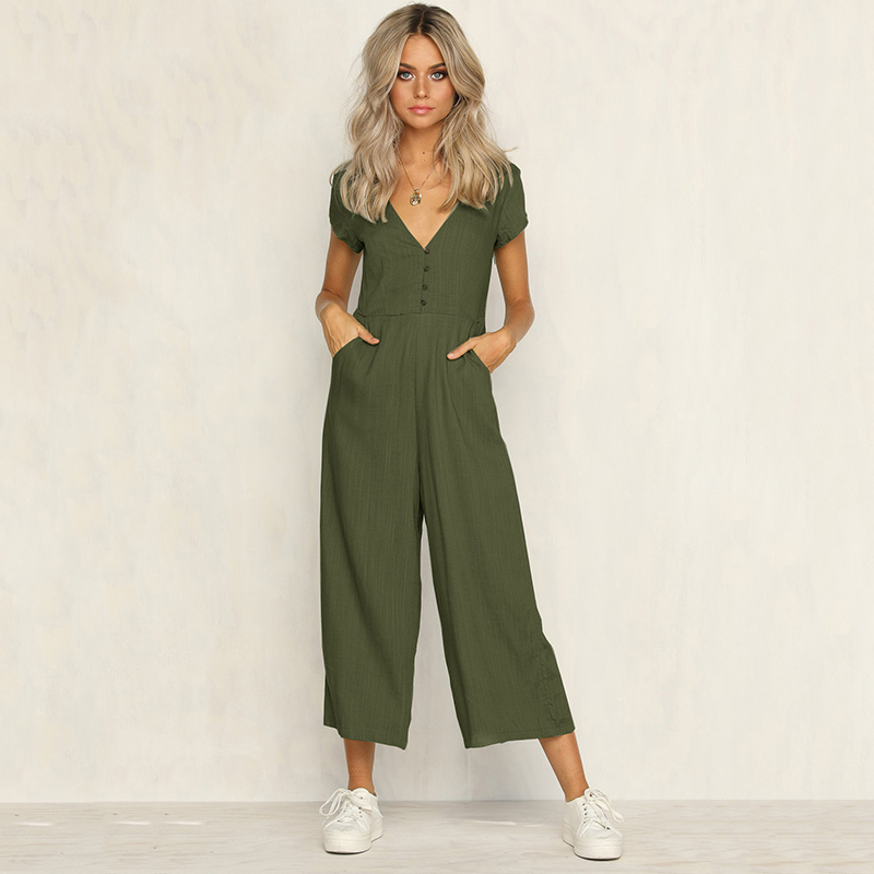 Sexy v neck wide leg   jumpsuit   for women 2019 Summer fashion short sleeve khaki rompers womens   jumpsuit   Causal loose overalls