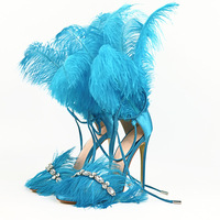 Moraima snc 2019 summer fashion sexy sandals feather high heel women's shoes rhinestone sandals