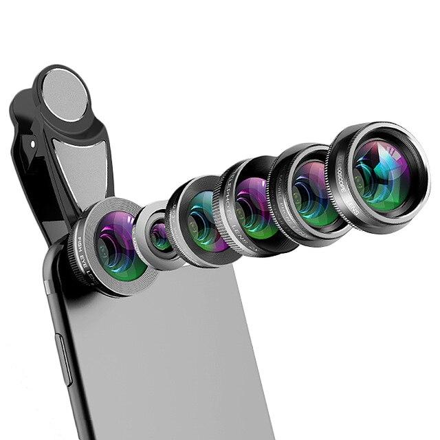 โทรศัพท์กล้องเลนส์,6 ใน 1 ชุดเลนส์สำหรับ Iphone และ Android, kaleidoscope มุมกว้าง + มาโคร + Cpl Fisheye Telephoto Zoom