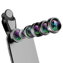 Lente de la cámara del teléfono, Kit de lente del teléfono celular 6 en 1 para Iphone y Android, kaleidoscopio gran angular + Macro Cpl Fisheye telefoto Zoom