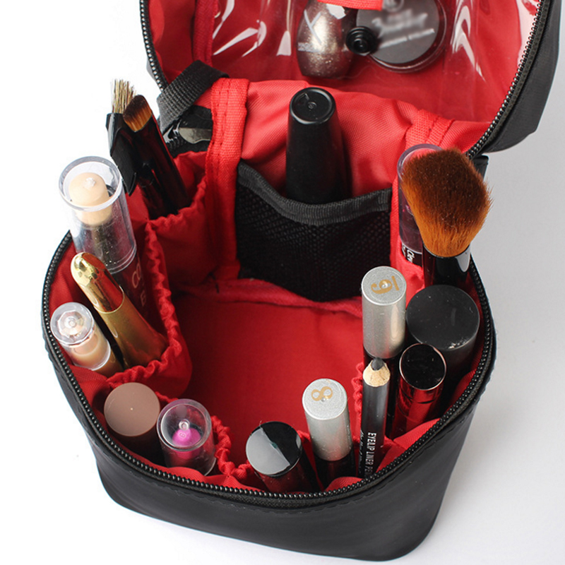 Washable Barrel Shaped Makeup Organizer with Zipper for Women Suitable for Travel and Home Use 3