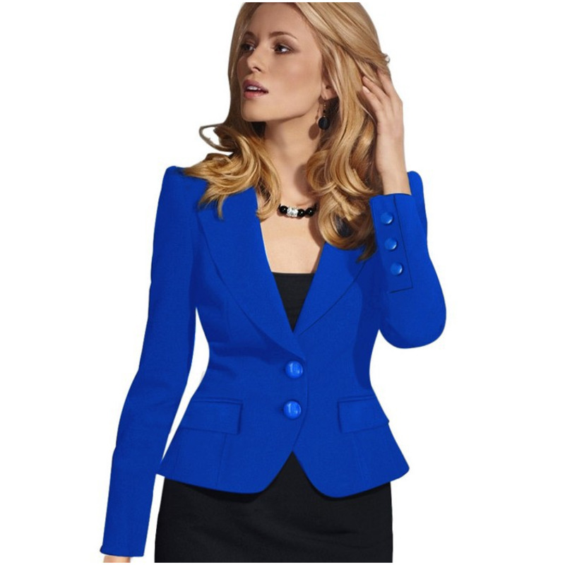 PEONFLY Women Blazer Solid Color Jacket Slim Fit Fashion Office Lady Long Sleeve Single Breasted Vintage Loose Coat Tops XXXL