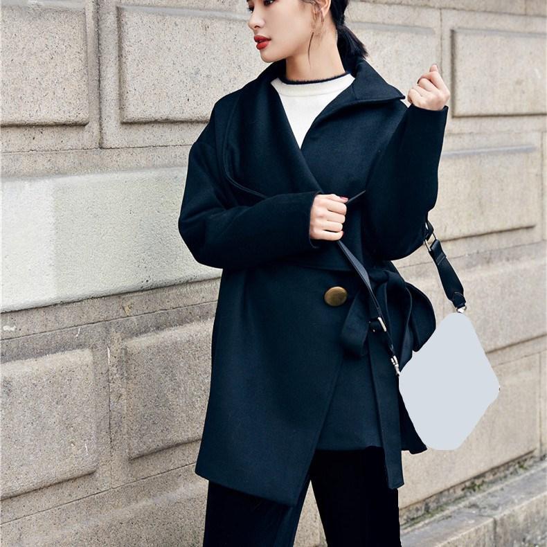 2018 Manteau Survêtement Vintage Irrégulière Long Dames Laine Femmes Nouvelle De Hiver Ceinture Solide Lâche Automne Manteaux Noir Mode tawrHt