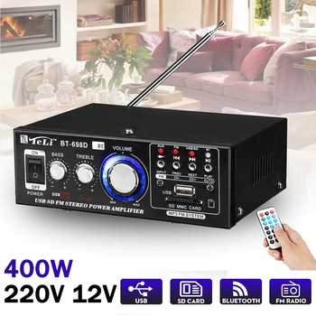 USB SD HIFI Car bluetooth Digital Amplifier Audio Power Stereo Amplifiers Home FM Radio Subwoofer Equipment With Remote Control bluetooth 5 0 hifi power amplifiers stereo home audio digital sound amplifier with treble bass