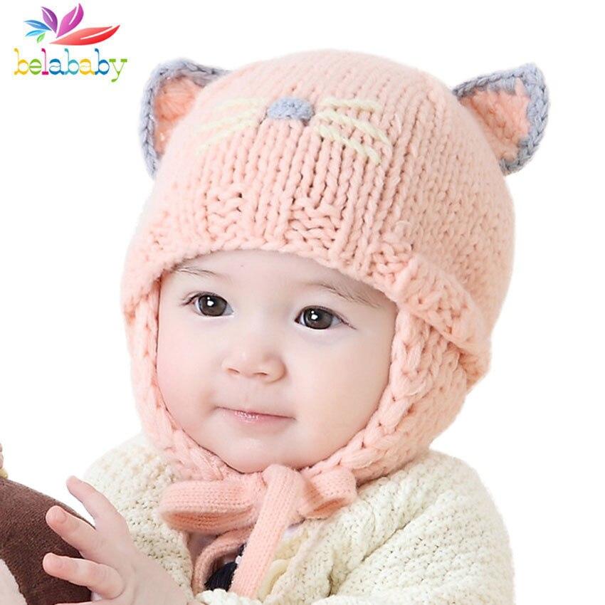 >2019 Winter Hat For Newbron Baby Warm Knitted Beanie For <font><b>Kids</b></font> Autumn <font><b>Toddler</b></font> Infant Cartoon Hat <font><b>Kid</b></font> Cute Ear Cap Girl <font><b>Boy</b></font> Bonnet