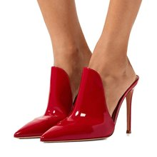 New Arrivals 2019 Red Patent Leather High Heel Pump Shoes Women Pointed Toe Cut-out Mules Shoes Women Slip-on Slides Customized недорого