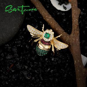Image 5 - Santuzza broche de prata para mulher autêntico 100% 925 prata esterlina cor do ouro adorável abelha inseto broche moda jóias