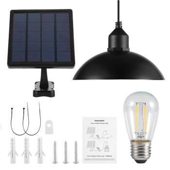Metal Shade Solar Powered Pendant Light E27 Bulb Outdoor Hanging Shed Lamp For Home Garden With Bulb 1