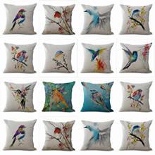 HGLEGYW ели красочные печатные птица наволочка льняное белье подушки с принтами офисные домашний текстиль