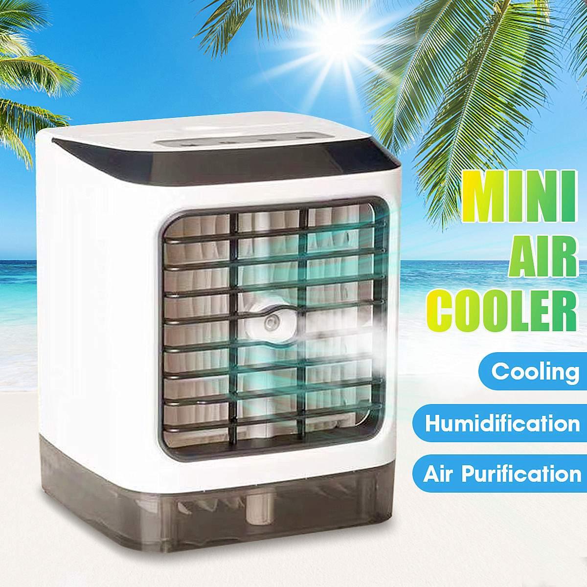 Le plus nouveau Mini climatiseur USB 7 lumière LED ordinateurs de bureau ventilateur de refroidissement d'air climatisation humidificateur Portable refroidisseur pour bureau maison